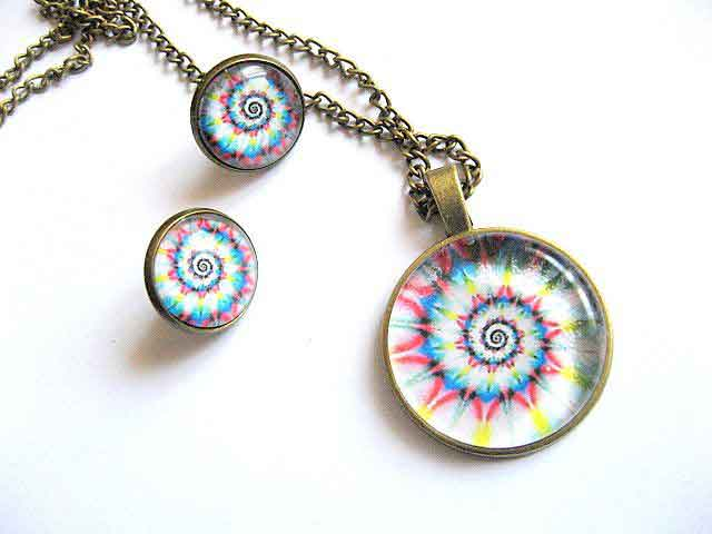 Bijuterii sticla si bronz design spirala multicolora, pandantiv si cercei 29151