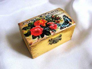 Buchet flori si fluture design carte postala, cutie lemn bijuterii 29055