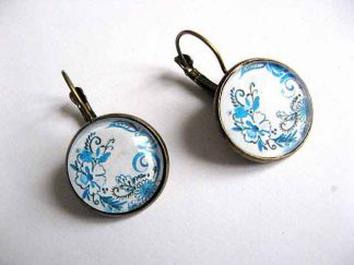 Cercei bronz cu flori stilizate culori albastru si albastru deschis 29033