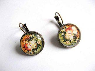 Cercei cu motiv floral, pereche cercei handmade culori pastelate 29031