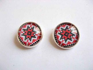 Cercei cu surub cu motiv traditional, bijuterie handmade cadou femei 29013
