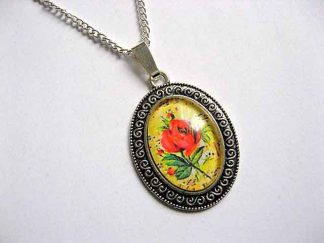 Colier cu pandantiv cu motiv floral, trandafir rosu pe fundal galben 29057