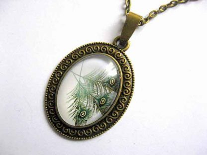 Colier si pandantiv bronz design pene de paun, bijuterii femei 28933