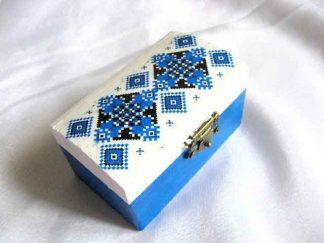 Cutie accesorii femei, cutie model etnofolcloric culori albastru negru
