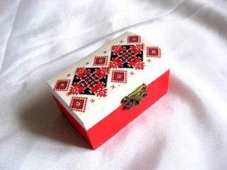 Cutie bijuterii cu motive traditionale romanesti, culori rosu si negru 29157