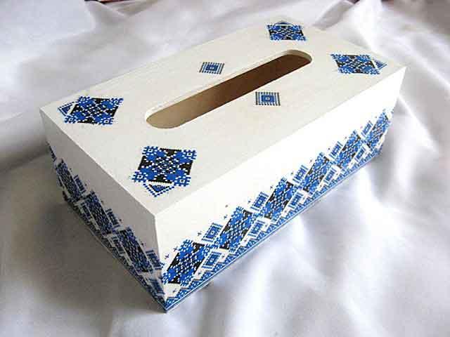 Cutie servetele modele geometrice, motiv traditional albastru si negru