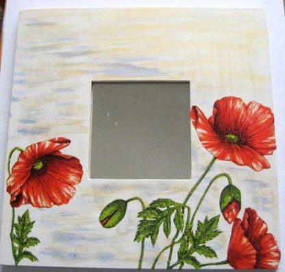 Oglinda femei, oglinda cu flori de maci infloriti si imbobociti 15273