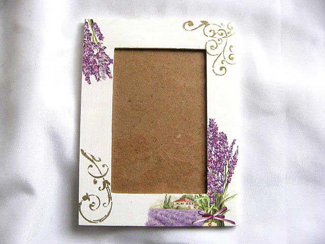 Rama foto din lemn cu model de flori de lavanda 27541