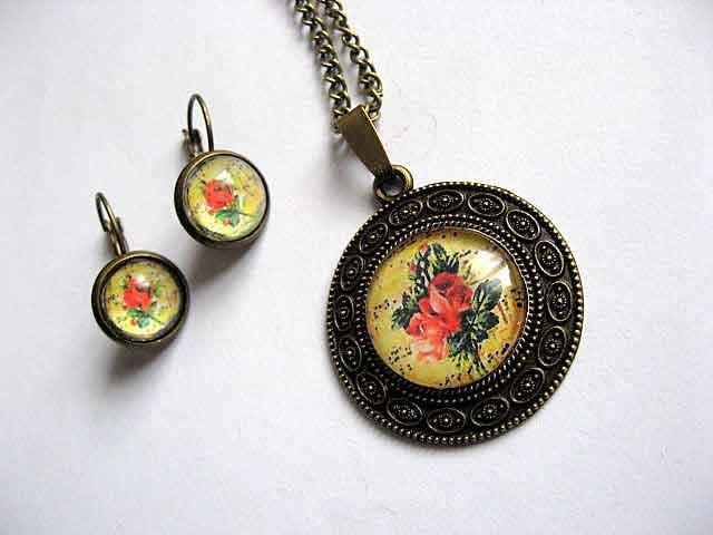 Set cu model floral, bijuterii femei set pandantiv si cercei 29233