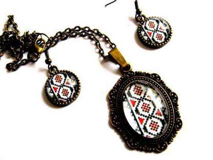 Set cu model traditional, set bijuterii femei cu motive traditionale 28971