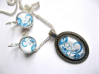 Set model floral culoare bleu, colier, pandantiv si cercei, bijuterii femei 29025
