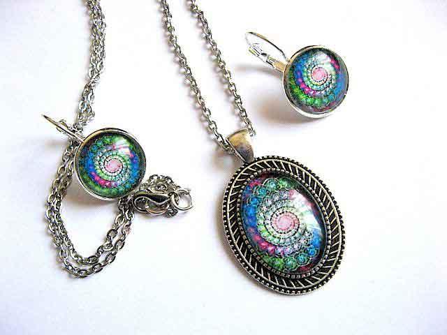 Spirala culori multicolore, set bijuterie handmade, bijuterii femei 29149