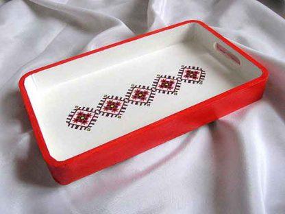 Tava model maci stilizati, model traditional romanesc, tava rosu si alb 28107