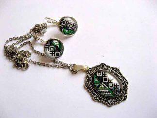 Bijuterii bronz si sticla cu motive traditionale, pandantiv si cercei 29270