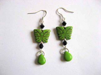 Cercei culoare verde howlit fluturi si lacrima, cercei culoare verde 29279
