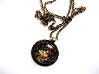 Colier si pandantiv din bronz cu model floral, bijuterie femei 29265
