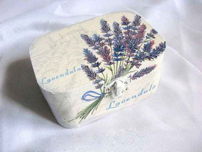 Cutie accesorii femei, cutie lemn cu flori de lavanda 29054
