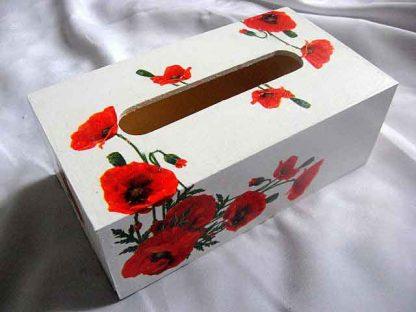 Cutie servetele hartie, cutie cu design de flori de maci rosii 29361