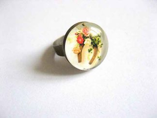 Inel cu model floral si magnet, inel reglabil femei 21623