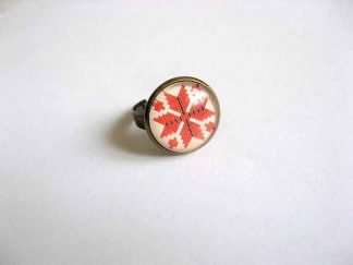 Inel cu model geometric, inel reglabil cu motiv traditional 29179