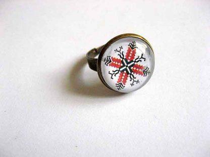 Inel cu motiv traditional dobrogean, inel reglabil femei 29215
