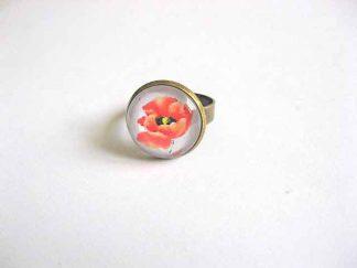 Inel reglabil cu flori rosii, inel cu maci 29217