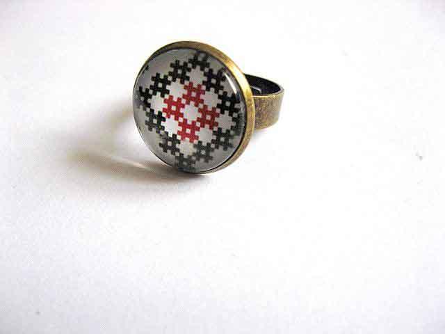 Inel reglabil din bronz, inel din metal cu motiv traditional 29207