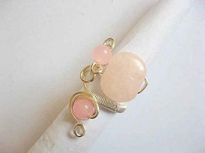 Inel usor reglabil cu cuart roz, inel femei culoare roz 20156