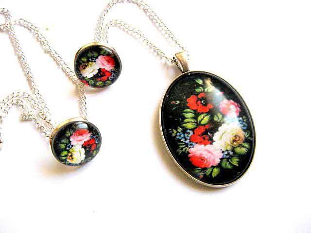 Model floral bijuterii, set colier, pandantiv si cercei 29399