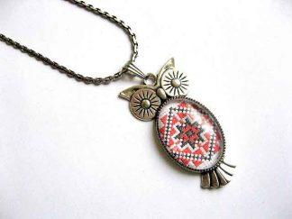 Pandantiv bufnita cu motiv traditional, colier si pandantiv argint tibetan 29374
