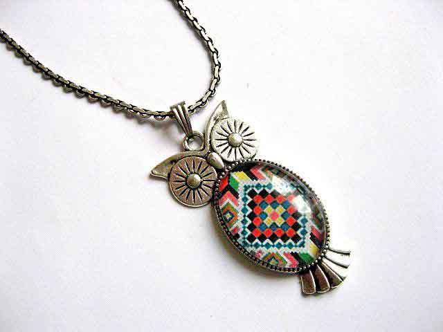 Pandantiv bufnita motiv traditional, colier si pandantiv argint tibetan 29376