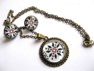 Set bijuterii bronz si sticla, colier cu pandantiv si cercei 29275