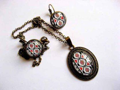 Set bijuterii bronz si sticla cu motive traditionale, set cadou femei 29263