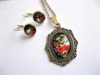 Set bijuterii cu model de flori campenesti, cercei, colier si pandantiv 29245