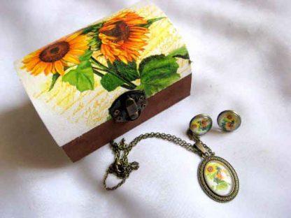 Set cutie si bijuterii, set cadou model floral, design floarea soarelui 29256