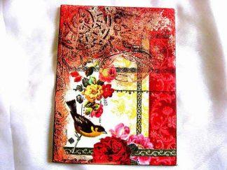 Tablou cu ornamente florale si cu o pasare pe o creanga, tablou panza 29367