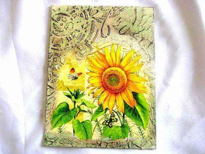 Tablou floarea soarelui si fluture, tablou pe panza cu pasta de structura 29371