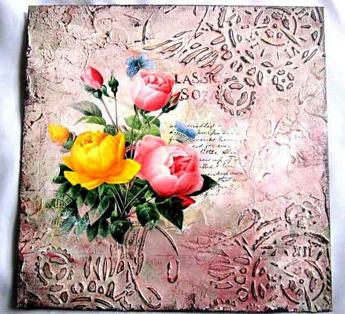 Tablou pe panza cu model floral, tablou panza pe fundal vintage roz 29357