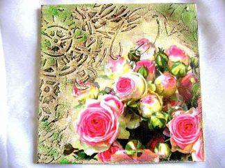 Tablou pictat cu acrilice cu pasta de structura, tablou trandafiri roz 29370