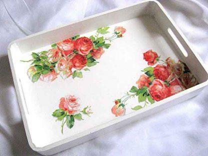 Tava design trandafiri rosii si roz, tava lemn natur servire masa 26204 poza a 2a