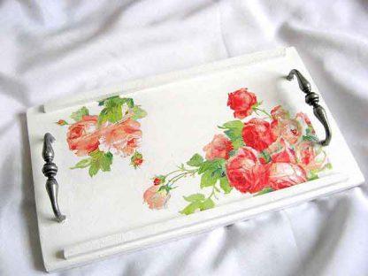 Tava lemn, tava servire mic dejun cu design de trandafiri roz si rosii 26865