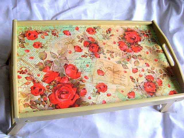 Tava tip masa, tava pentru servirea mesei la pat cu model floral 26332 poza a 2a