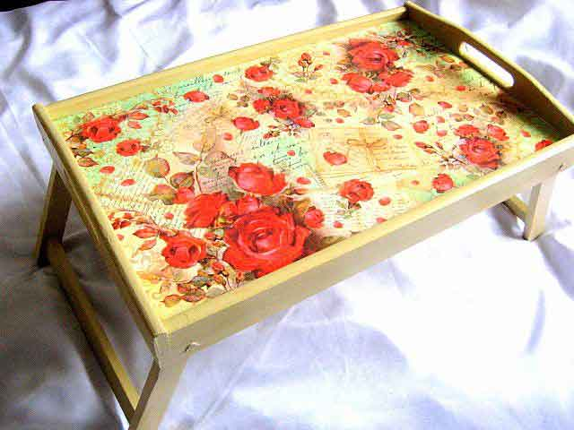 Tava tip masa, tava pentru servirea mesei la pat cu model floral 26332