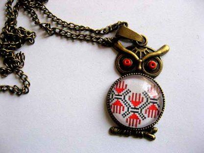 Bufnita bijuterie femei, colier si pandantiv cu motive traditionale 29544