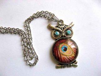 Bufnita design pana de paun maro, albastru si negru, bijuterie femei 29539