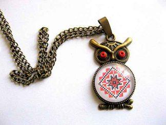 Bufnita pandantiv motiv traditional, modele geometrice, bijuterie femei 29537