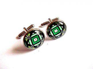 Butoni camasa barbati, butoni motiv traditional verde si galben 33398