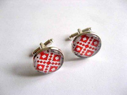 Butoni camasa cu rosu si negru, bijuterie butoni barbati 29523