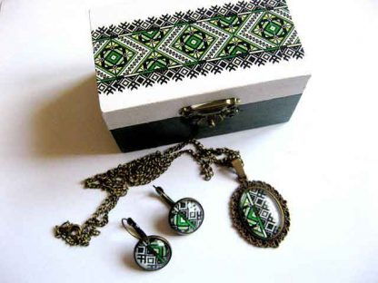 Cadou set bijuterii bronz, set cutie, colier, pandantiv si cercei 29442