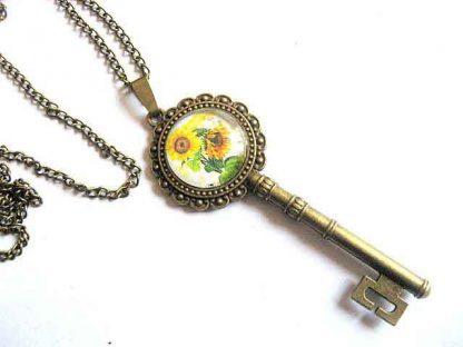 Colier si pandantiv bronz, pandantiv cu model de floarea soarelui 29424
